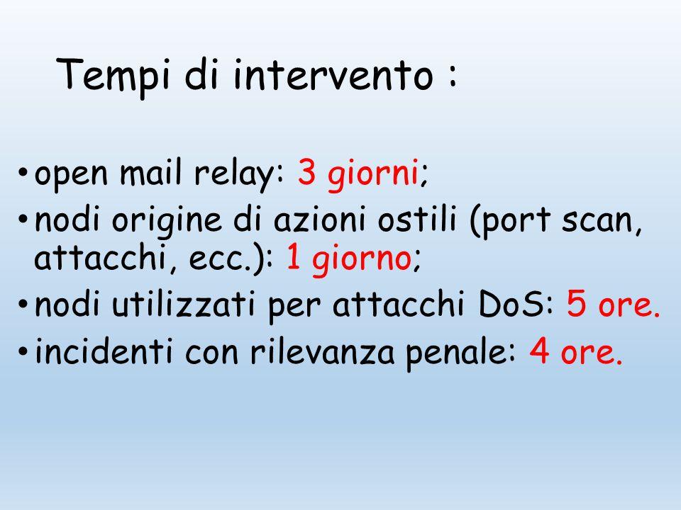 Tempi di intervento : open mail relay: 3 giorni; nodi origine di azioni ostili (port scan, attacchi, ecc.): 1 giorno; nodi utilizzati per attacchi DoS: 5 ore.
