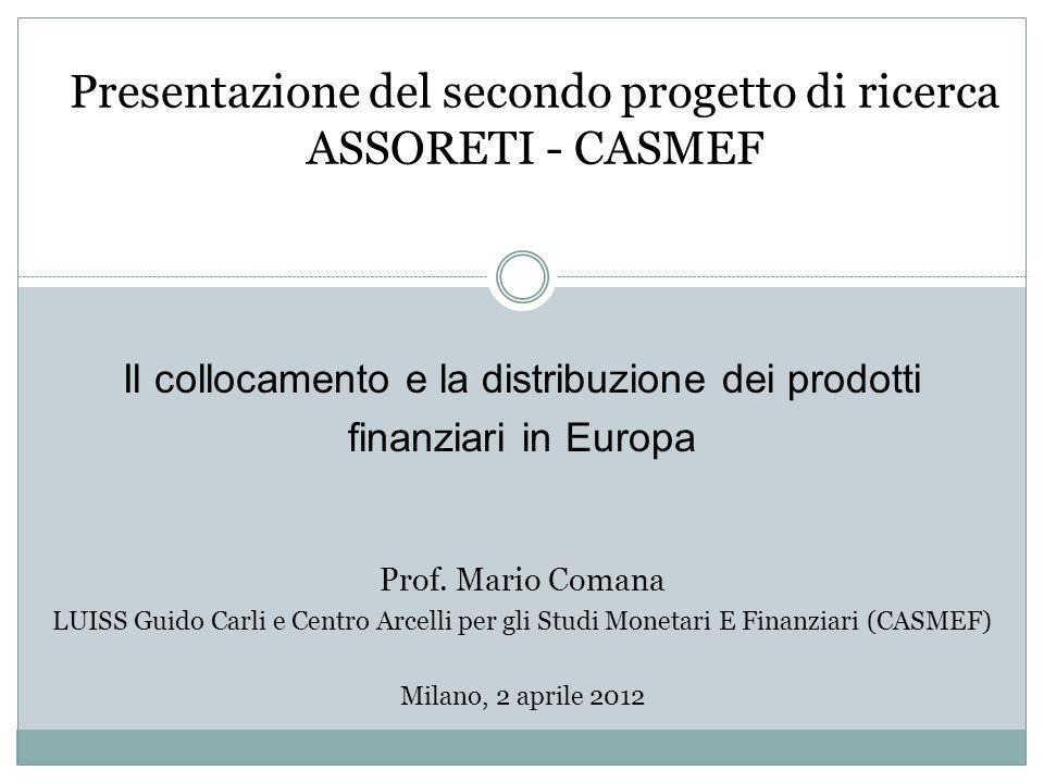 Presentazione del secondo progetto di ricerca ASSORETI - CASMEF Il collocamento e la distribuzione dei prodotti finanziari in Europa Prof.
