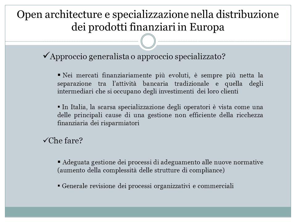 Open architecture e specializzazione nella distribuzione dei prodotti finanziari in Europa Approccio generalista o approccio specializzato.