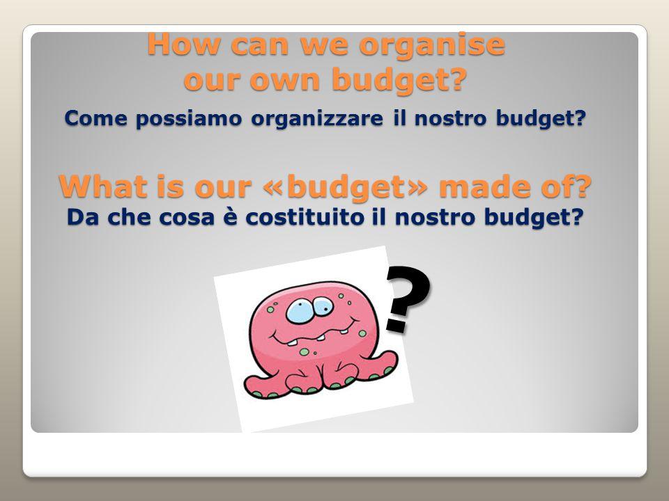 How can we organise our own budget. Come possiamo organizzare il nostro budget.