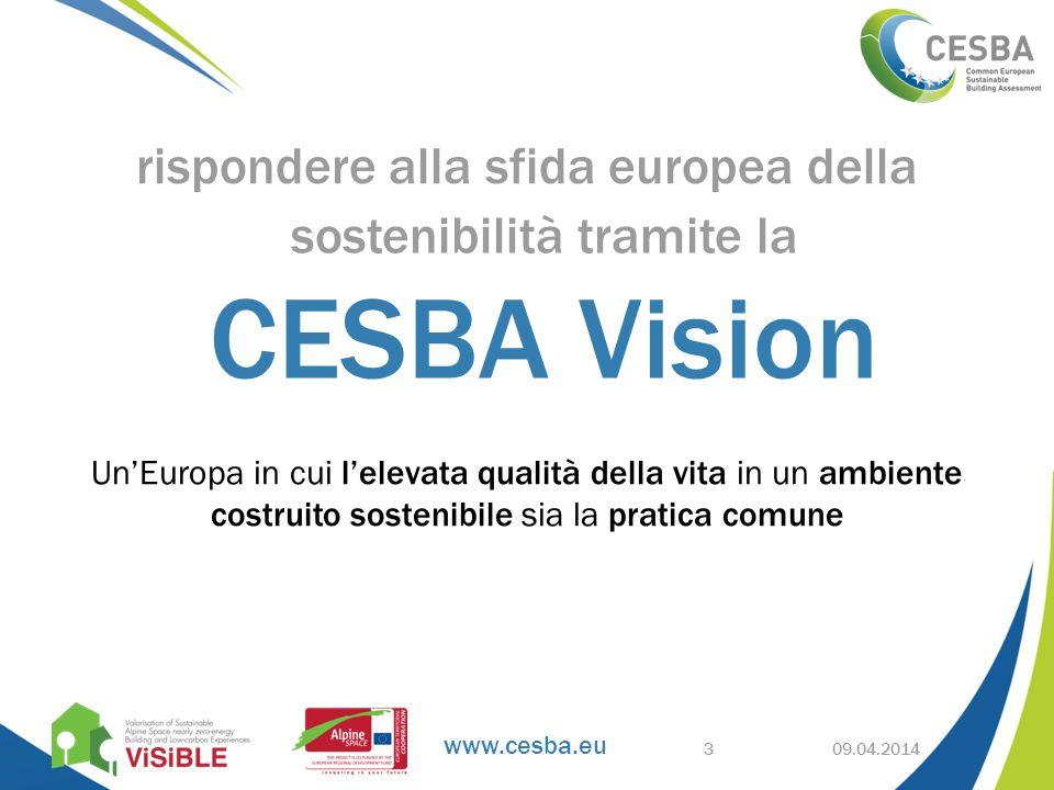 www.cesba.eu Un'Europa in cui l'elevata qualità della vita in un ambiente costruito sostenibile sia la pratica comune 09.04.2014 rispondere alla sfida europea della sostenibilità tramite la CESBA Vision 3