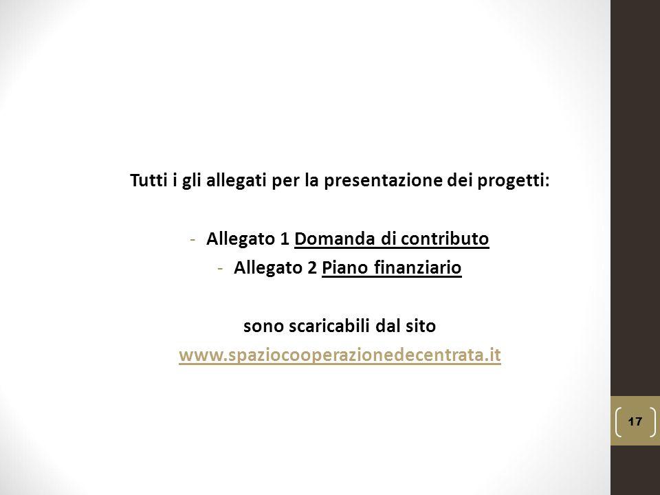 Tutti i gli allegati per la presentazione dei progetti: -Allegato 1 Domanda di contributo -Allegato 2 Piano finanziario sono scaricabili dal sito www.