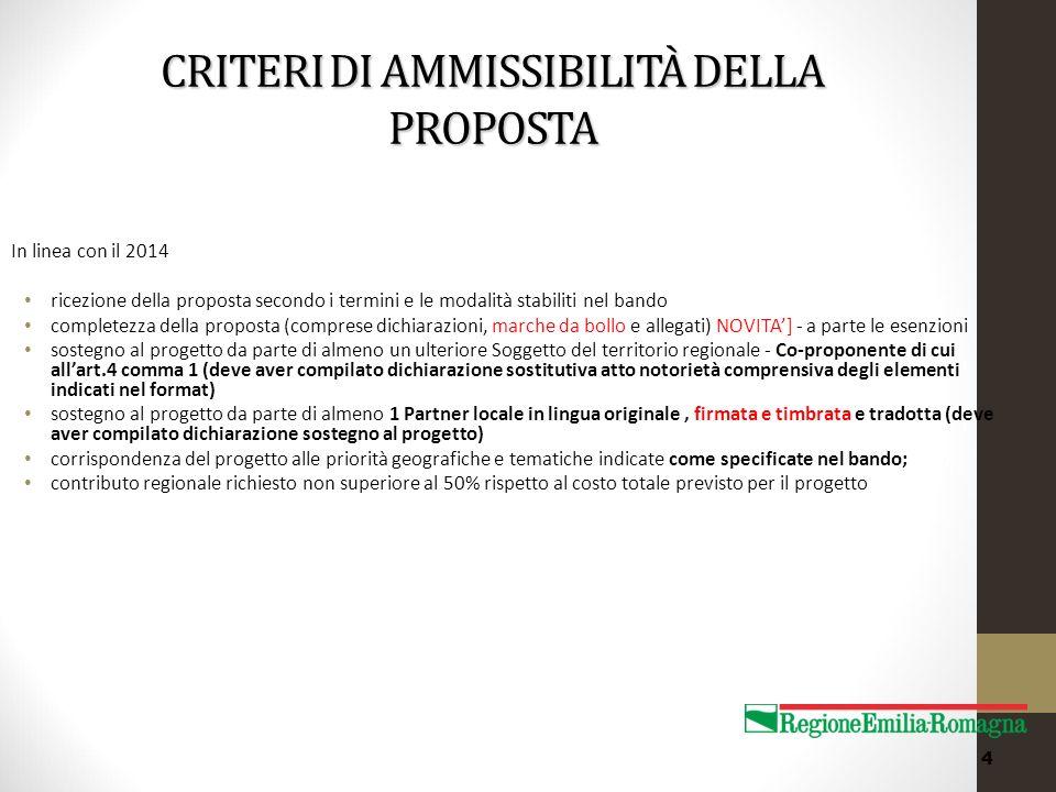 CRITERI DI AMMISSIBILITÀ DELLA PROPOSTA In linea con il 2014 ricezione della proposta secondo i termini e le modalità stabiliti nel bando completezza