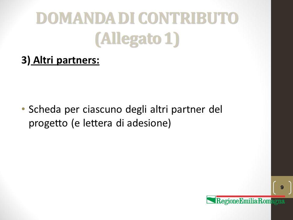 DOMANDA DI CONTRIBUTO (Allegato 1) 3) Altri partners: Scheda per ciascuno degli altri partner del progetto (e lettera di adesione) 9