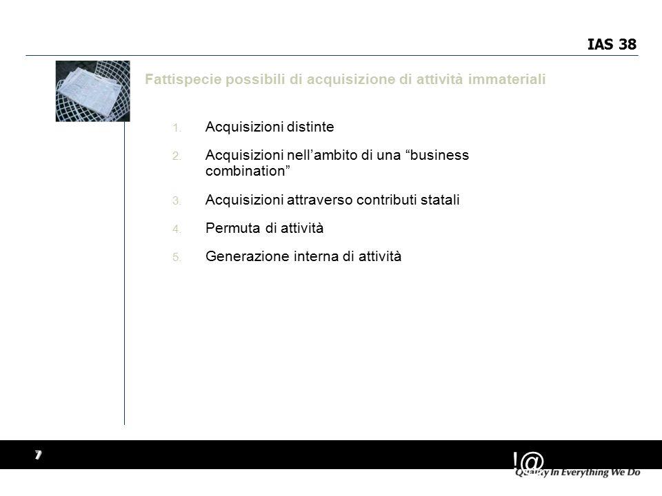!@ 7 IAS 38 Fattispecie possibili di acquisizione di attività immateriali 1.