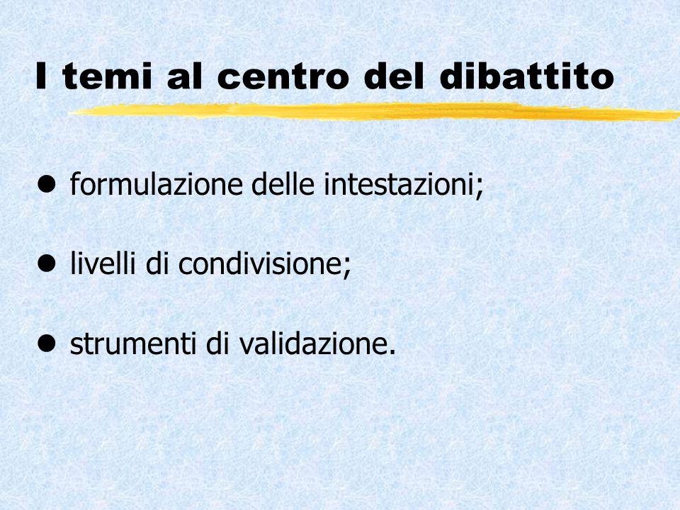 I temi al centro del dibattito l formulazione delle intestazioni; l livelli di condivisione; l strumenti di validazione.