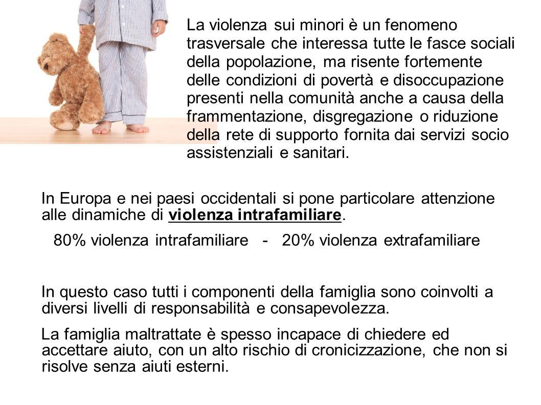 In Europa e nei paesi occidentali si pone particolare attenzione alle dinamiche di violenza intrafamiliare. 80% violenza intrafamiliare - 20% violenza