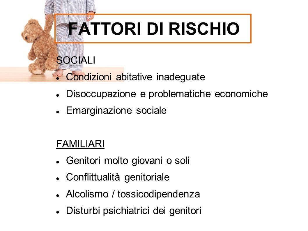 FATTORI DI RISCHIO SOCIALI Condizioni abitative inadeguate Disoccupazione e problematiche economiche Emarginazione sociale FAMILIARI Genitori molto gi