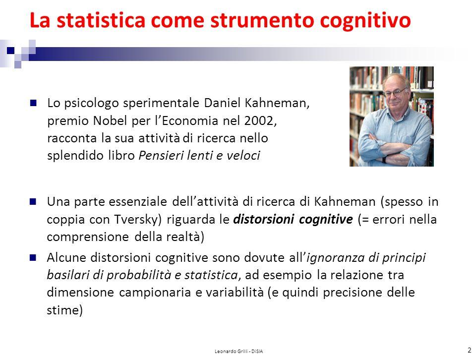 La statistica come strumento cognitivo Una parte essenziale dell'attività di ricerca di Kahneman (spesso in coppia con Tversky) riguarda le distorsioni cognitive (= errori nella comprensione della realtà) Alcune distorsioni cognitive sono dovute all'ignoranza di principi basilari di probabilità e statistica, ad esempio la relazione tra dimensione campionaria e variabilità (e quindi precisione delle stime) Leonardo Grilli - DiSIA 2 Lo psicologo sperimentale Daniel Kahneman, premio Nobel per l'Economia nel 2002, racconta la sua attività di ricerca nello splendido libro Pensieri lenti e veloci