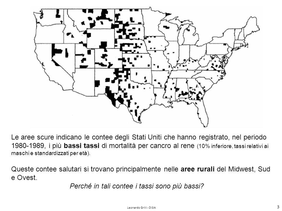Leonardo Grilli - DiSIA 4 In questa figura, invece, le aree scure indicano le contee degli Stati Uniti che hanno registrato, nel periodo 1980-1989, i più alti tassi di mortalità per cancro al rene (10% superiore, tassi relativi ai maschi e standardizzati per età).