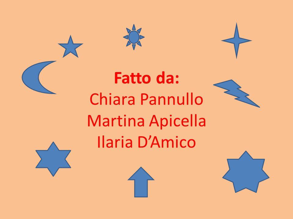 Fatto da: Chiara Pannullo Martina Apicella Ilaria D'Amico