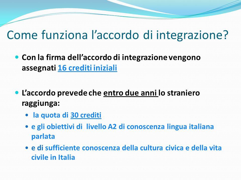 Come funziona l'accordo di integrazione? Con la firma dell'accordo di integrazione vengono assegnati 16 crediti iniziali L'accordo prevede che entro d