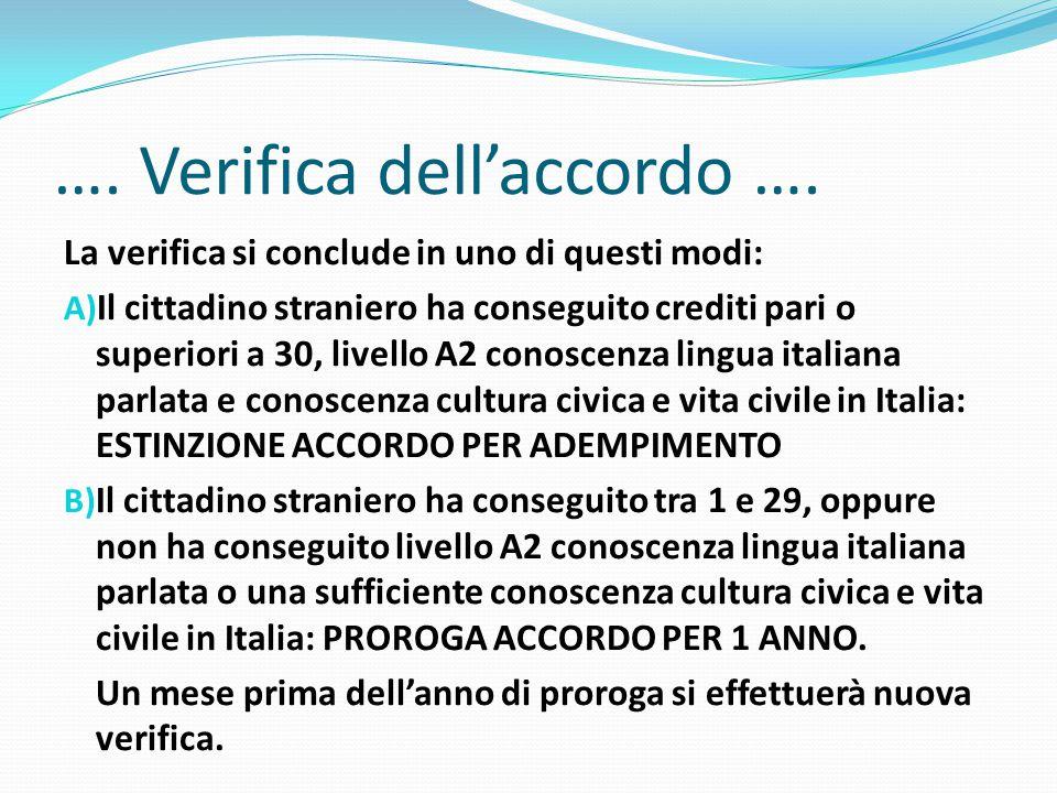 …. Verifica dell'accordo …. La verifica si conclude in uno di questi modi: A) Il cittadino straniero ha conseguito crediti pari o superiori a 30, live