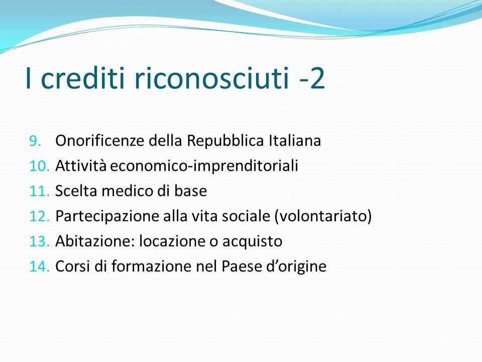 I crediti riconosciuti -2 9. Onorificenze della Repubblica Italiana 10. Attività economico-imprenditoriali 11. Scelta medico di base 12. Partecipazion