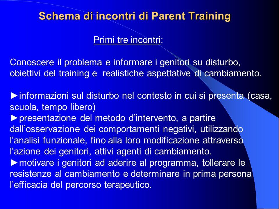 Schema di incontri di Parent Training Primi tre incontri: Conoscere il problema e informare i genitori su disturbo, obiettivi del training e realistic