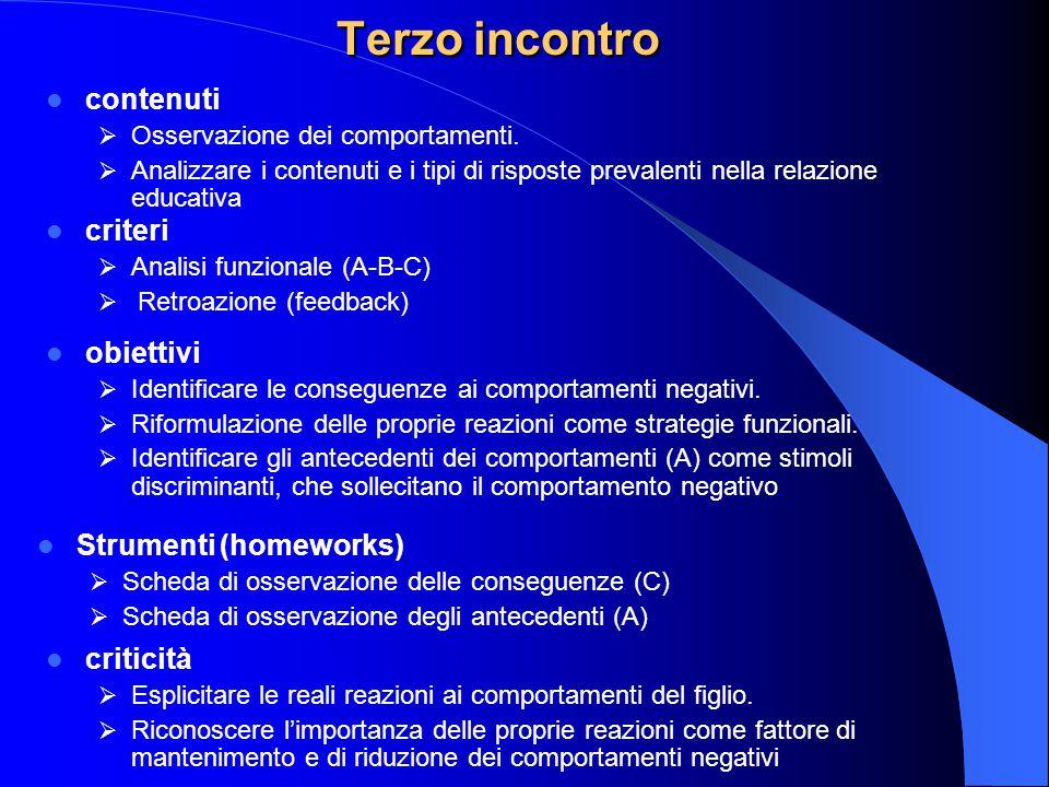 Terzo incontro contenuti  Osservazione dei comportamenti.  Analizzare i contenuti e i tipi di risposte prevalenti nella relazione educativa criteri