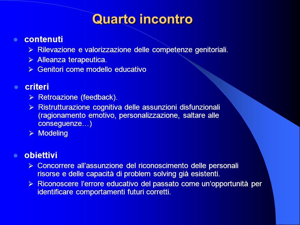 Quarto incontro contenuti  Rilevazione e valorizzazione delle competenze genitoriali.  Alleanza terapeutica.  Genitori come modello educativo crite
