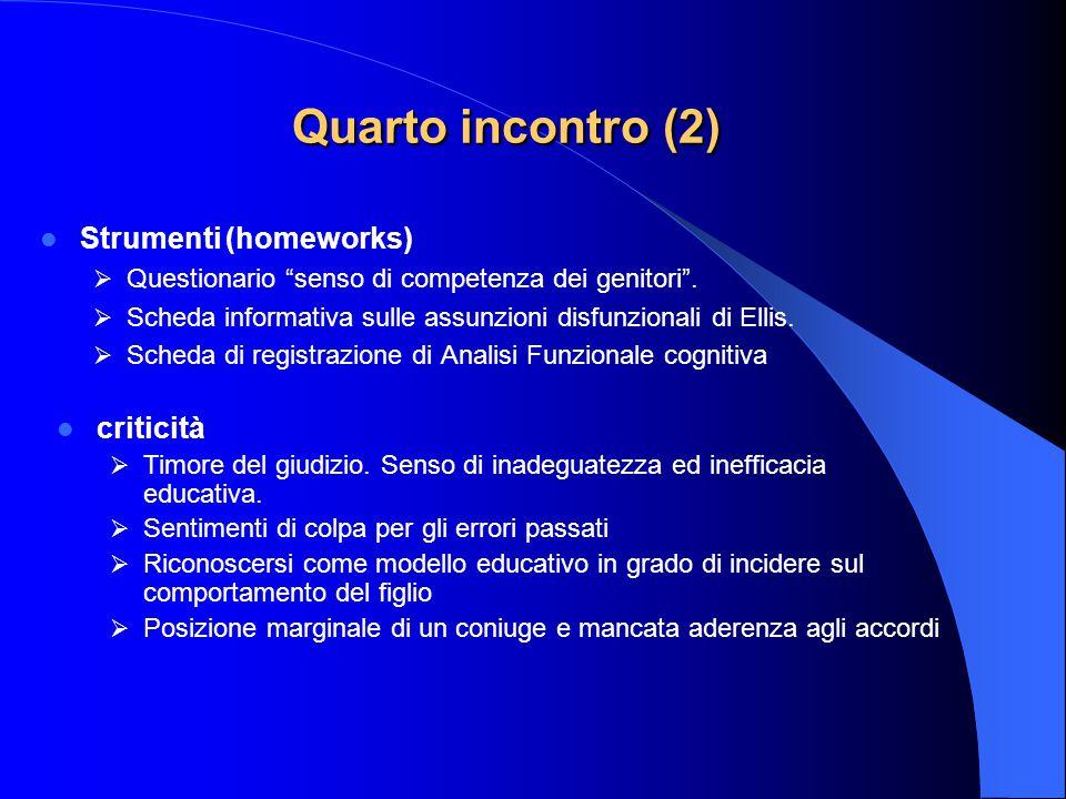 """Quarto incontro (2) Strumenti (homeworks)  Questionario """"senso di competenza dei genitori"""".  Scheda informativa sulle assunzioni disfunzionali di El"""