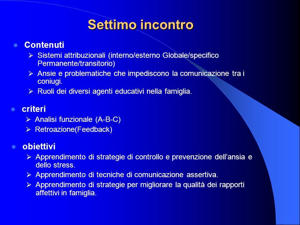 Settimo incontro Contenuti  Sistemi attribuzionali (interno/esterno Globale/specifico Permanente/transitorio)  Ansie e problematiche che impediscono