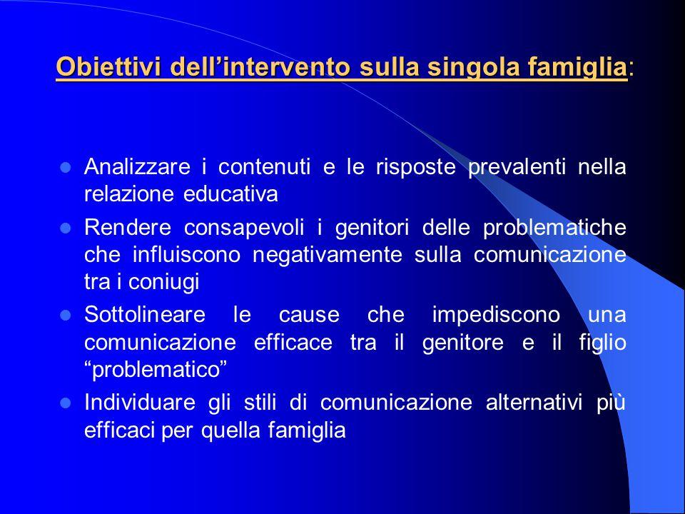 Obiettivi dell'intervento sulla singola famiglia: Analizzare i contenuti e le risposte prevalenti nella relazione educativa Rendere consapevoli i geni