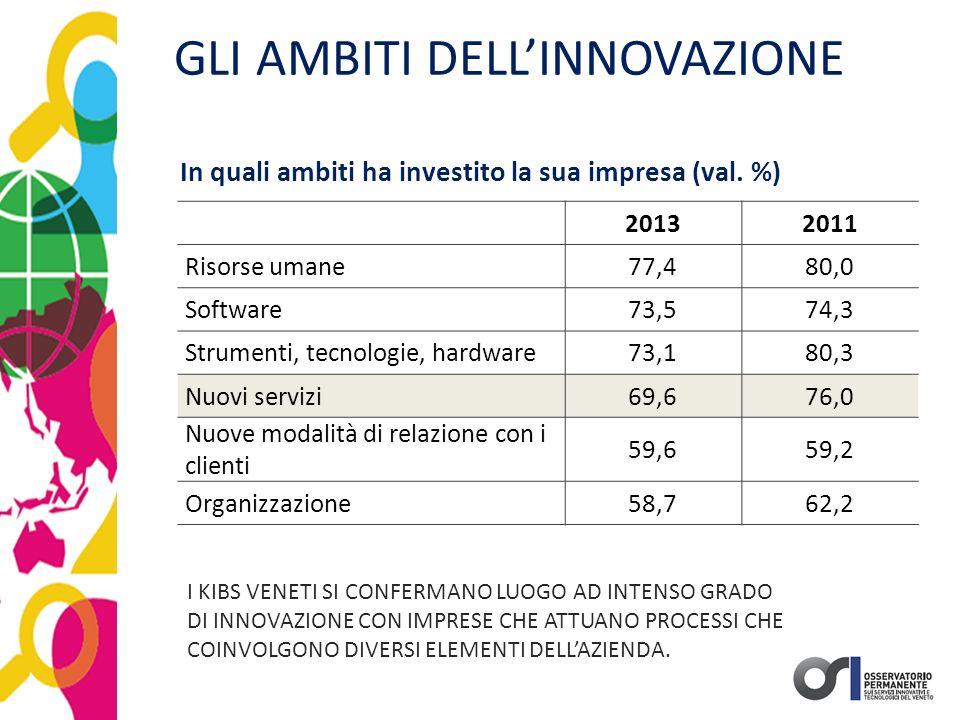 GLI AMBITI DELL'INNOVAZIONE 20132011 Risorse umane77,480,0 Software73,574,3 Strumenti, tecnologie, hardware73,180,3 Nuovi servizi69,676,0 Nuove modali