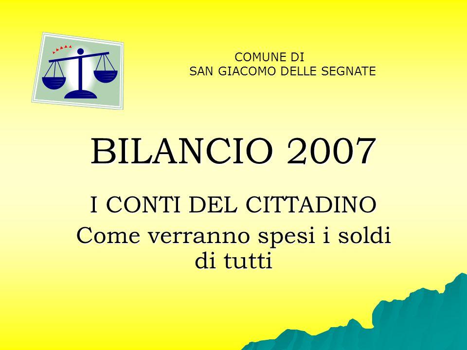 BILANCIO 2007 I CONTI DEL CITTADINO Come verranno spesi i soldi di tutti COMUNE DI SAN GIACOMO DELLE SEGNATE