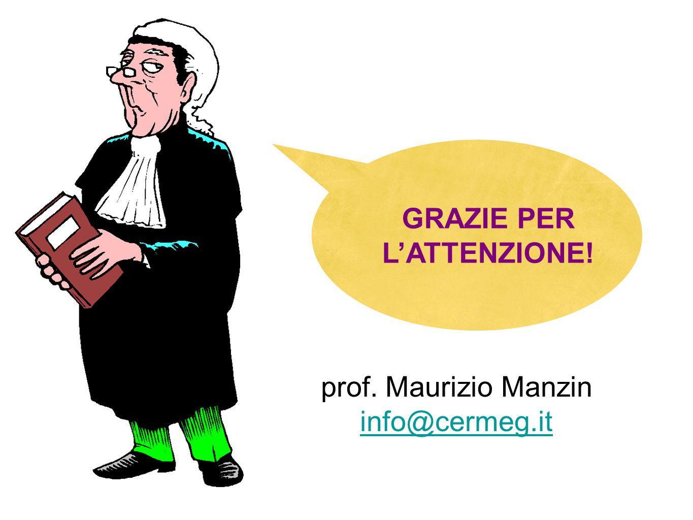 GRAZIE PER L'ATTENZIONE! prof. Maurizio Manzin info@cermeg.it