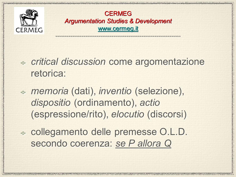 CERMEG Argumentation Studies & Development www.cermeg.it www.cermeg.it CERMEG Argumentation Studies & Development www.cermeg.it www.cermeg.it retorica giudiziale (adversary system, giusto processo ): argomentazione 1 vs argomentazione 2; ragionamento giuridico e decisione ( verità processuale ) strumenti retorici per il giudizio: i giudici presi sul serio retorica giudiziale (adversary system, giusto processo ): argomentazione 1 vs argomentazione 2; ragionamento giuridico e decisione ( verità processuale ) strumenti retorici per il giudizio: i giudici presi sul serio