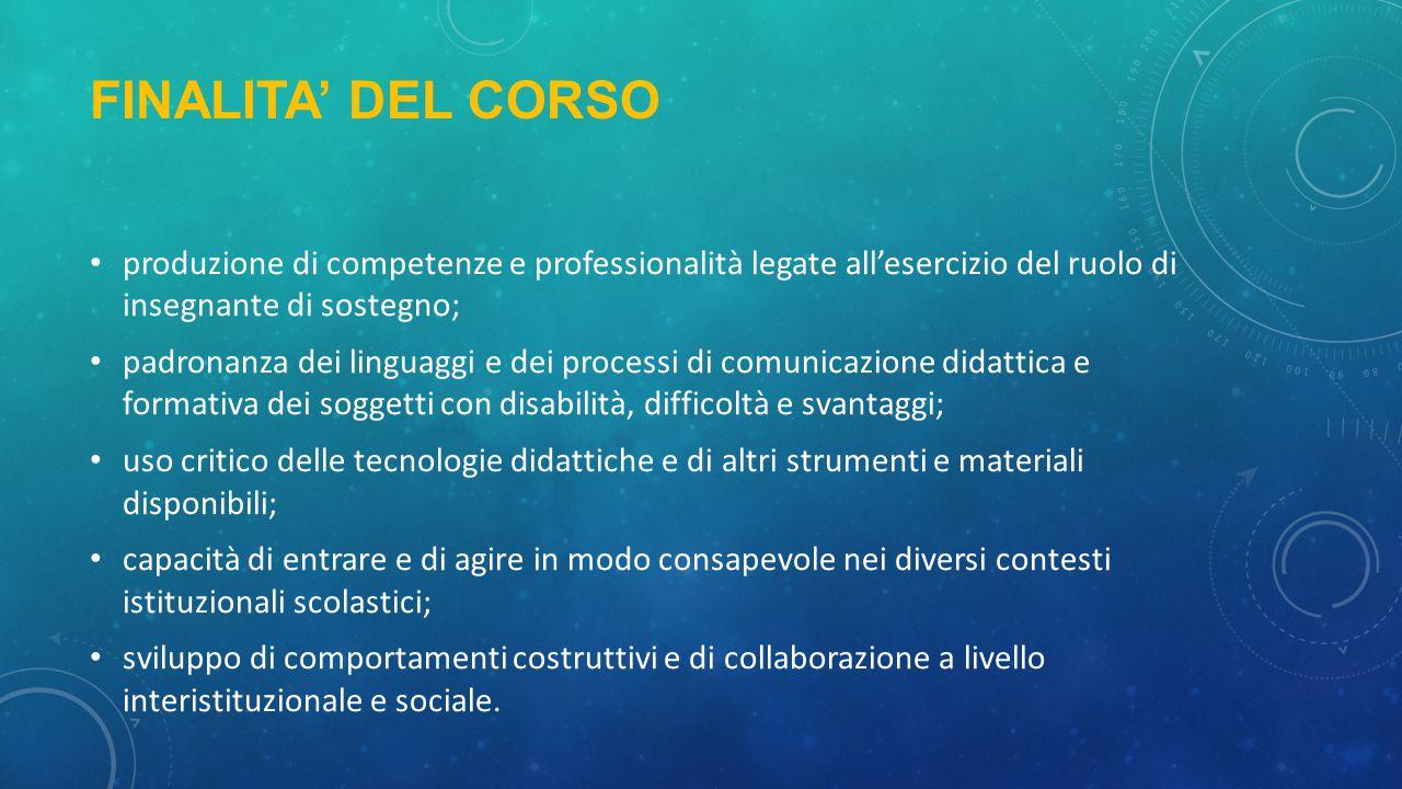 FINALITA' DEL CORSO produzione di competenze e professionalità legate all'esercizio del ruolo di insegnante di sostegno; padronanza dei linguaggi e de