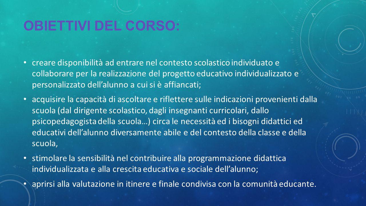 OBIETTIVI DEL CORSO: creare disponibilità ad entrare nel contesto scolastico individuato e collaborare per la realizzazione del progetto educativo ind