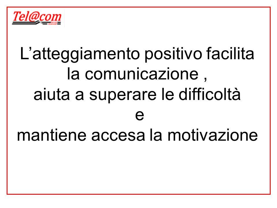 L'atteggiamento positivo facilita la comunicazione, aiuta a superare le difficoltà e mantiene accesa la motivazione