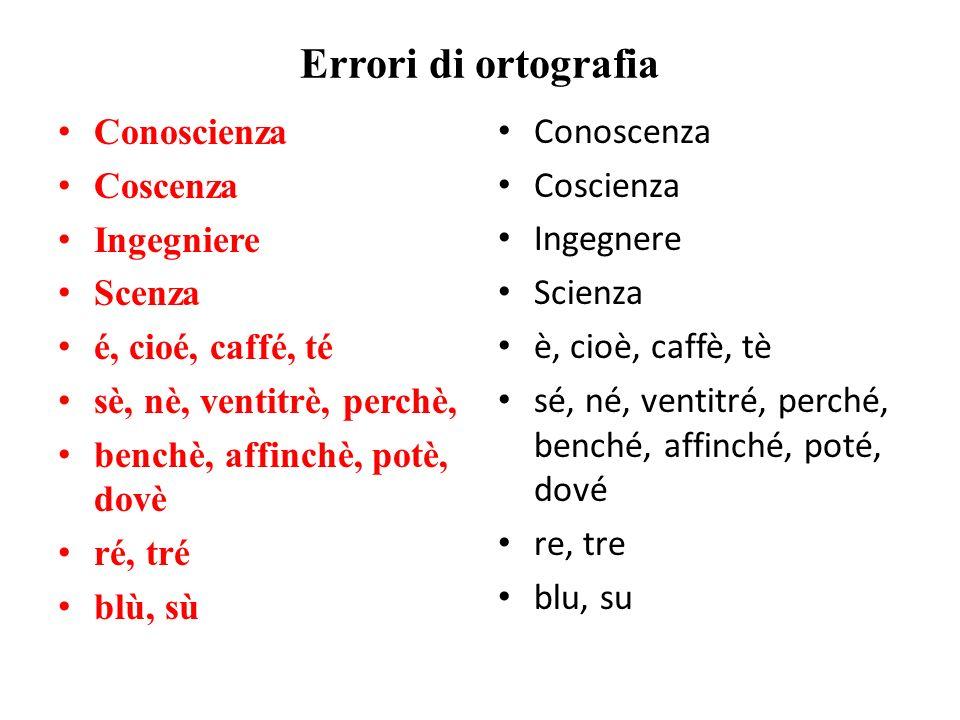 Errori di ortografia Conoscienza Coscenza Ingegniere Scenza é, cioé, caffé, té sè, nè, ventitrè, perchè, benchè, affinchè, potè, dovè ré, tré blù, sù