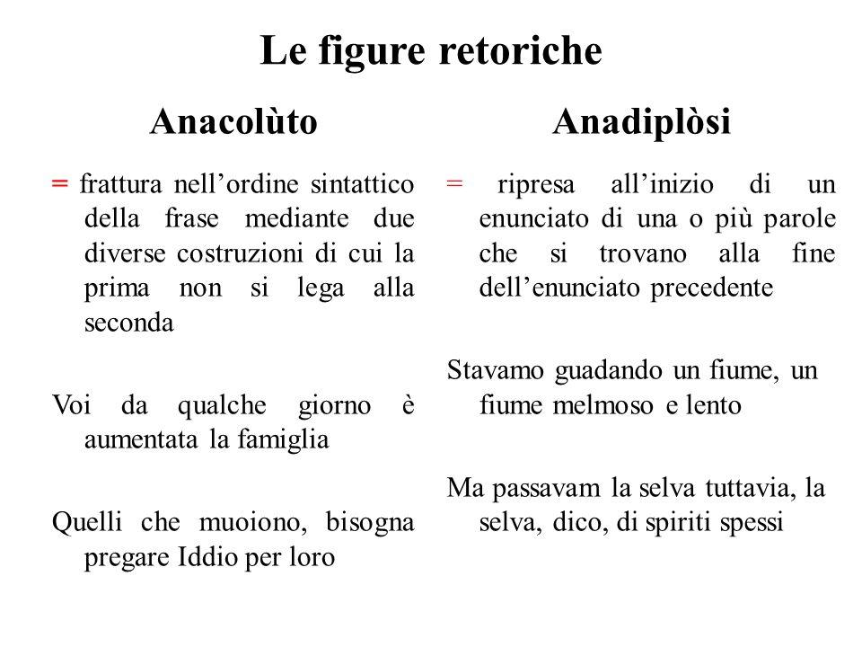 Le figure retoriche Anacolùto = frattura nell'ordine sintattico della frase mediante due diverse costruzioni di cui la prima non si lega alla seconda
