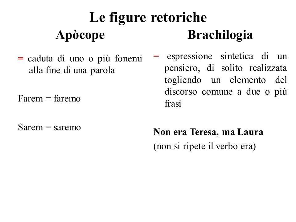 Le figure retoriche Apòcope = caduta di uno o più fonemi alla fine di una parola Farem = faremo Sarem = saremo Brachilogia = espressione sintetica di