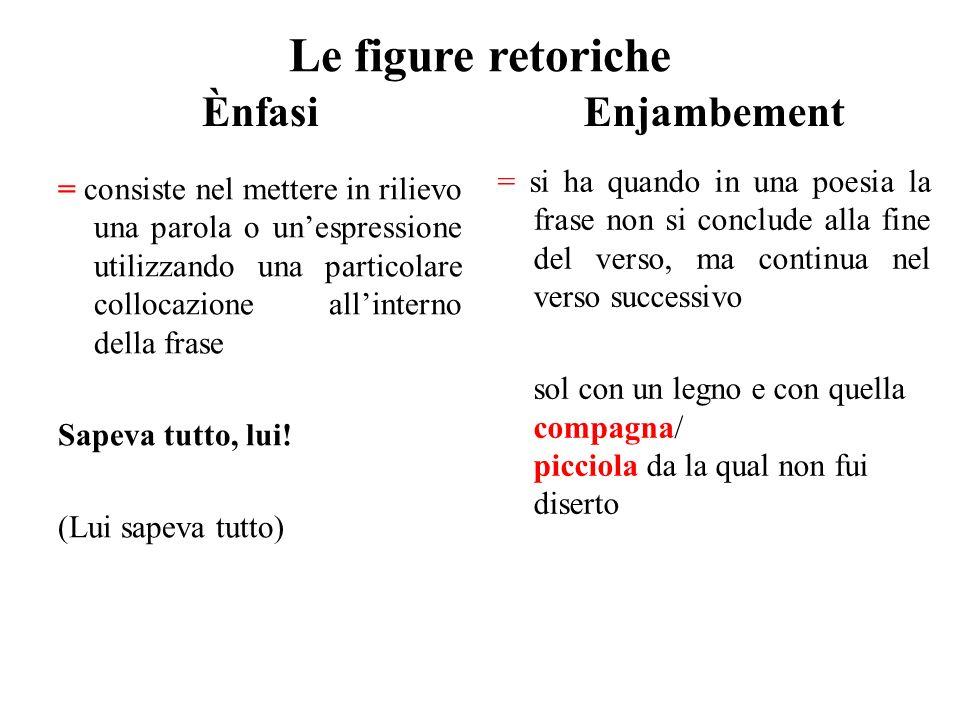 Le figure retoriche Ènfasi = consiste nel mettere in rilievo una parola o un'espressione utilizzando una particolare collocazione all'interno della fr