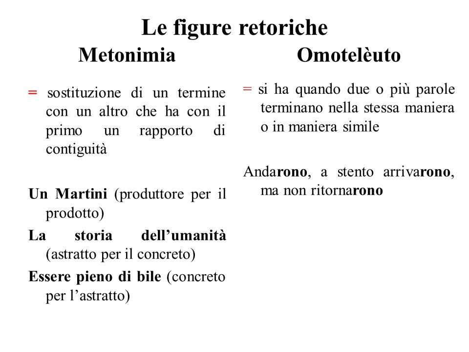 Le figure retoriche Metonimia = sostituzione di un termine con un altro che ha con il primo un rapporto di contiguità Un Martini (produttore per il pr