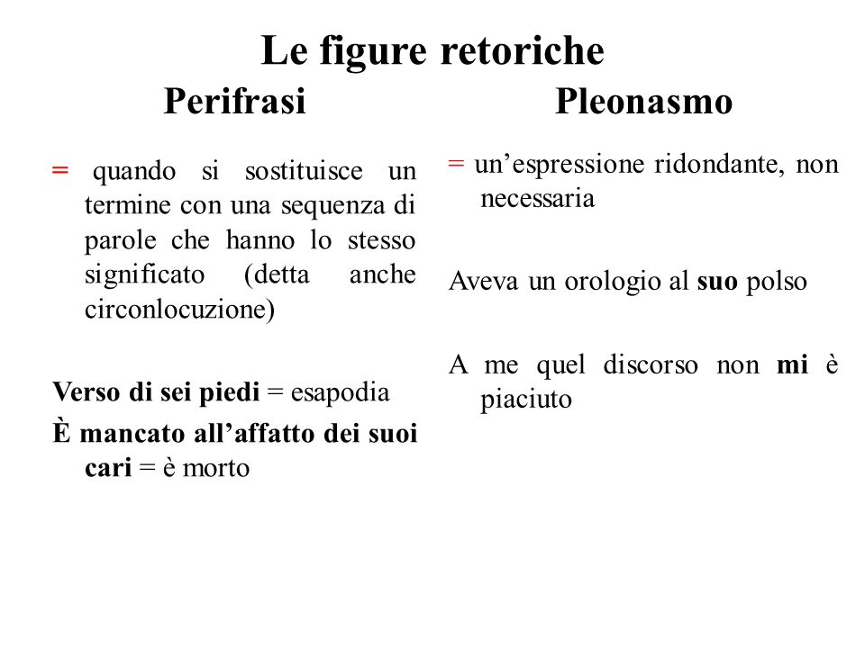 Le figure retoriche Perifrasi = quando si sostituisce un termine con una sequenza di parole che hanno lo stesso significato (detta anche circonlocuzio