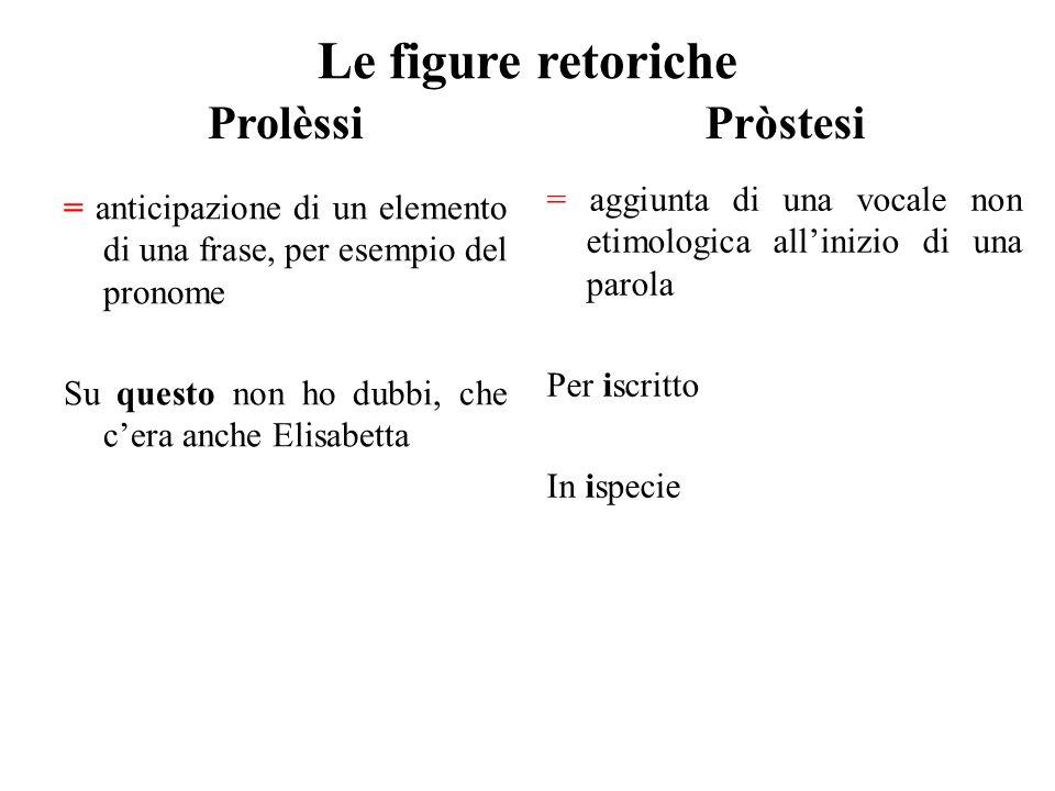 Le figure retoriche Prolèssi = anticipazione di un elemento di una frase, per esempio del pronome Su questo non ho dubbi, che c'era anche Elisabetta P