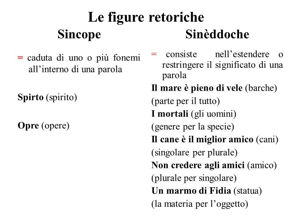 Le figure retoriche Sincope = caduta di uno o più fonemi all'interno di una parola Spirto (spirito) Opre (opere) Sinèddoche = consiste nell'estendere