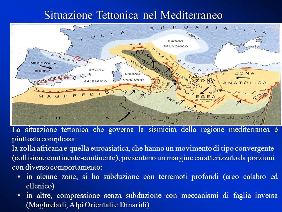La situazione tettonica che governa la sismicità della regione mediterranea è piuttosto complessa: la zolla africana e quella euroasiatica, che hanno un movimento di tipo convergente (collisione continente-continente), presentano un margine caratterizzato da porzioni con diverso comportamento: in alcune zone, si ha subduzione con terremoti profondi (arco calabro ed ellenico) in altre, compressione senza subduzione con meccanismi di faglia inversa (Maghrebidi, Alpi Orientali e Dinaridi) Situazione Tettonica nel Mediterraneo