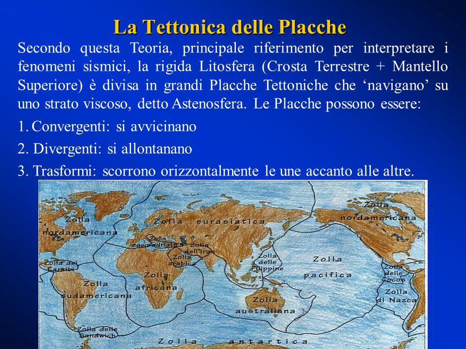 Secondo questa Teoria, principale riferimento per interpretare i fenomeni sismici, la rigida Litosfera (Crosta Terrestre + Mantello Superiore) è divisa in grandi Placche Tettoniche che 'navigano' su uno strato viscoso, detto Astenosfera.