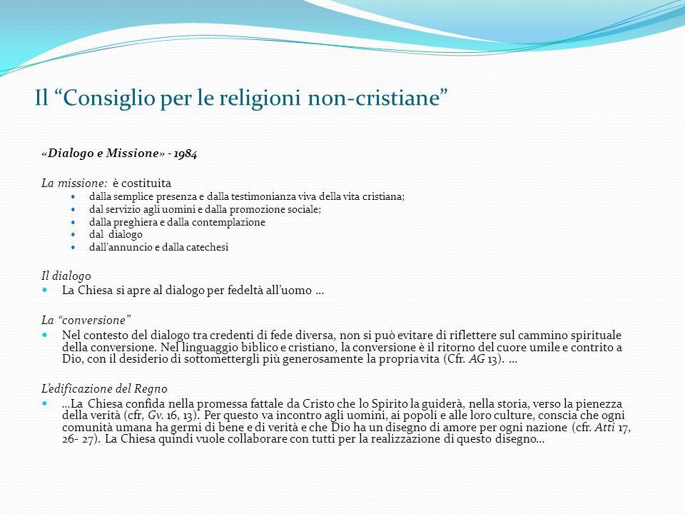 """Il """"Consiglio per le religioni non-cristiane"""" «Dialogo e Missione» - 1984 La missione: è costituita dalla semplice presenza e dalla testimonianza viva"""