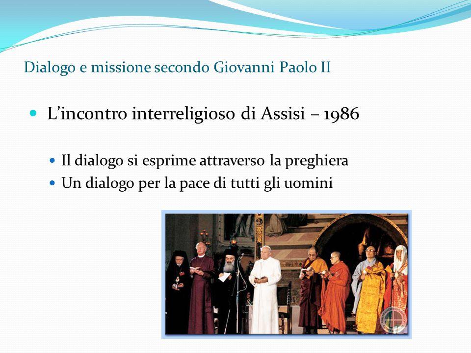 Dialogo e missione secondo Giovanni Paolo II L'incontro interreligioso di Assisi – 1986 Il dialogo si esprime attraverso la preghiera Un dialogo per l