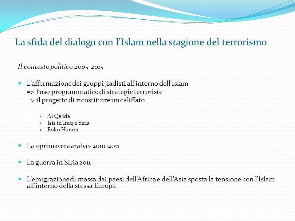 La sfida del dialogo con l'Islam nella stagione del terrorismo Il contesto politico 2005-2015 L'affermazione dei gruppi jiadisti all'interno dell'Isla