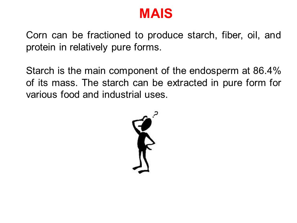 MAIS Corn can be fractioned to produce starch, fiber, oil, and protein in relatively pure forms. Starch is the main component of the endosperm at 86.4