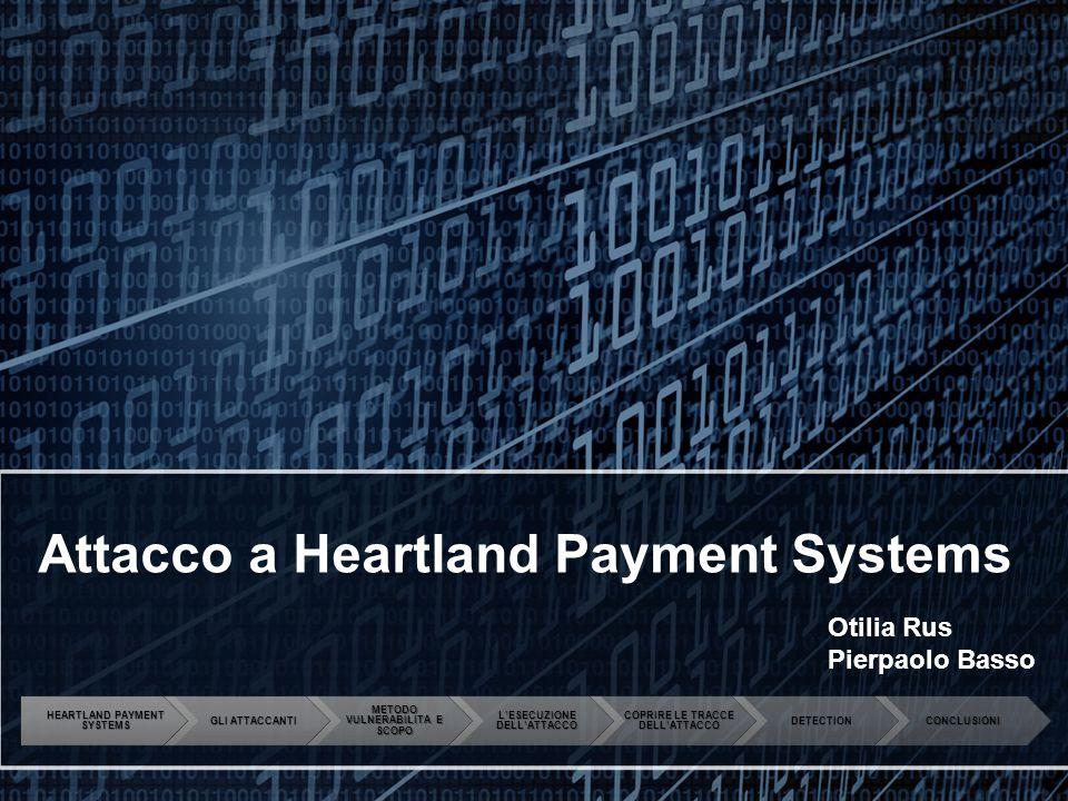 Attacco a Heartland Payment Systems Otilia Rus Pierpaolo Basso HEARTLAND PAYMENT SYSTEMS GLI ATTACCANTI METODO VULNERABILITA E SCOPO L'ESECUZIONE DELL