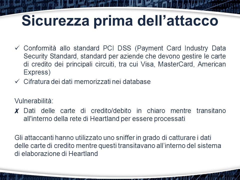 Sicurezza prima dell'attacco Conformità allo standard PCI DSS (Payment Card Industry Data Security Standard, standard per aziende che devono gestire l