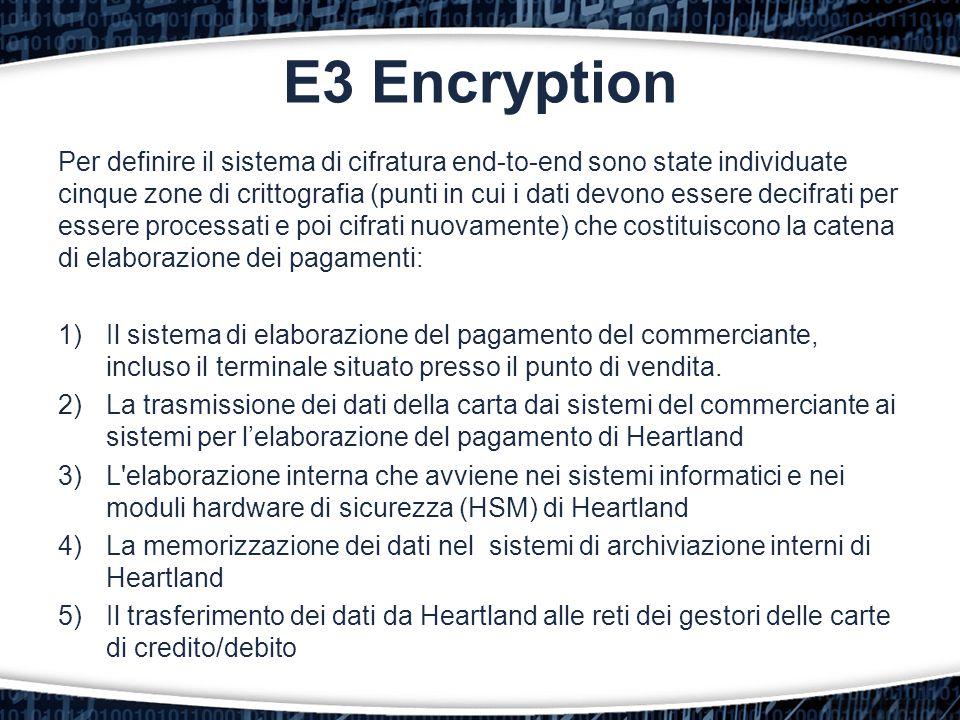 Per definire il sistema di cifratura end-to-end sono state individuate cinque zone di crittografia (punti in cui i dati devono essere decifrati per es
