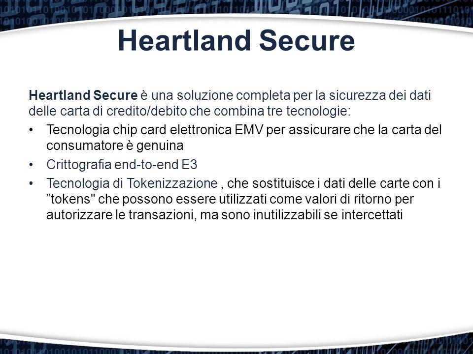 Heartland Secure è una soluzione completa per la sicurezza dei dati delle carta di credito/debito che combina tre tecnologie: Tecnologia chip card ele