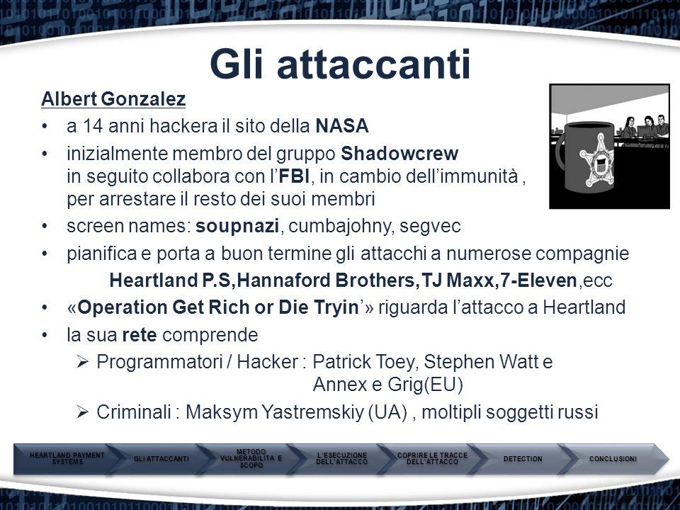 Gli attaccanti Albert Gonzalez a 14 anni hackera il sito della NASA inizialmente membro del gruppo Shadowcrew in in seguito collabora con l'FBI, in ca